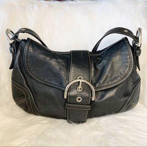 Auth. Coach Hamptons soho boho in black leather